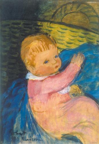 Berény Róbert (1887-1953)  Kislány kosárral, 1930  Olaj, papírlemez, 62x45 cm