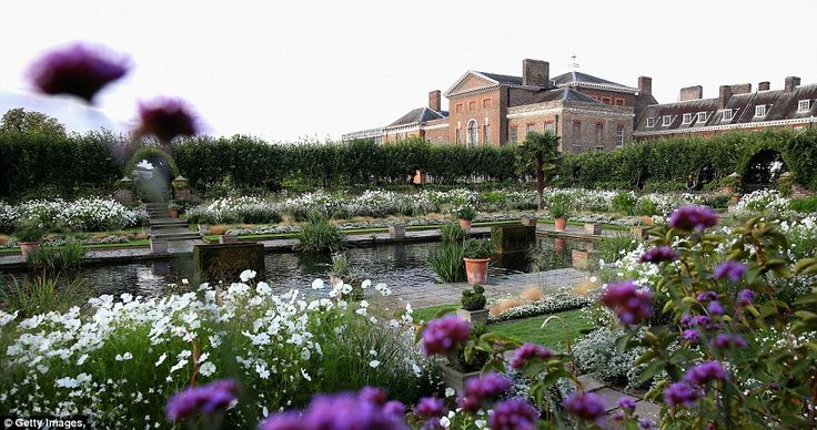 The White Garden at Kensington Palace, in memory of Princess Diana. Delicate blooms: The tiny white petals of the forget me not, left, can be seen peeking out above one of the raised borders. The garden's predominantly white flowers and foliage were inspired by memories of Diana's life, style and image
