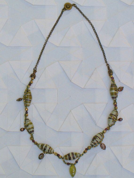 Semiprecious Stone and Paper Bead Necklace by RockPaperJewelry