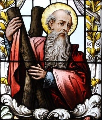 detail of a stained glass window of Saint Andrew the Apostle; 19th century by F…