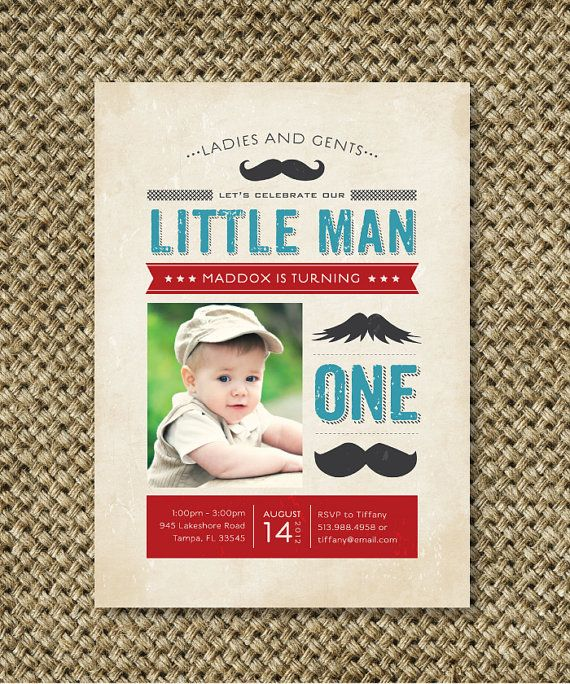 Little Man Mustache Birthday Party Invitation, Custom Printable, I Design and You Print. $18.00, via Etsy.