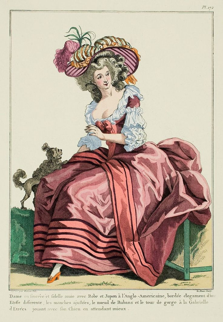Lady, a sincere and faithful friend, with a Gown and Petticoat à l'Anglo-Americaine,* edged elegantly with a different fabric, fitted sleeves, Ribbon bow and tour-de-gorge à la Gabrielle d'Etrées,** playing with her Dog while waiting for better. (1784).  A Most Beguiling Accomplishment: Galerie des Modes