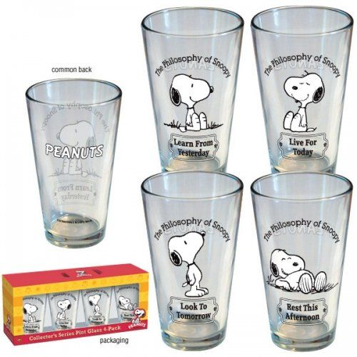 Peanuts - Merchandise - 4 Piece Pint Glass Set (The Philosophy Of Snoopy)