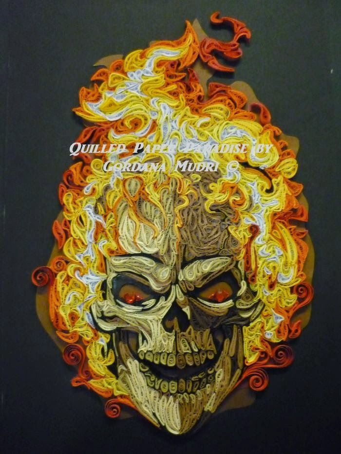 Quilled Paper Paradise Vatrena Lubanja Skull On Fire