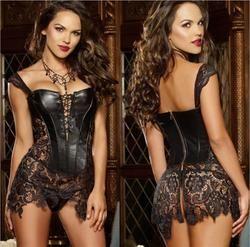 Plus Size Sexy Lingerie Women Black Faux Leather&Lace Burlesque Steampunk Corset