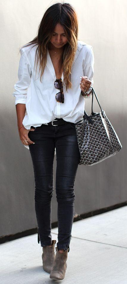 Julie Sariñana : white shirt, black skinny leather pants, black Goyard Saint Louis bag & Isabel Marant Dicker ankle boots