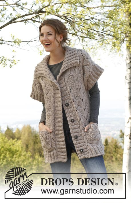 "Knitted DROPS jacket with lace pattern in ""Andes"". Size: S - XXXL. ~ DROPS Design"