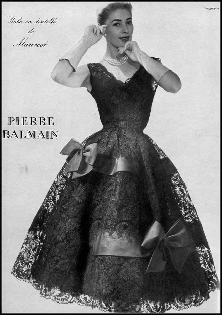 Geneviève in black Marescot lace party dress by Pierre Balmain, photo by Georges Saad, 1954 | by skorver1