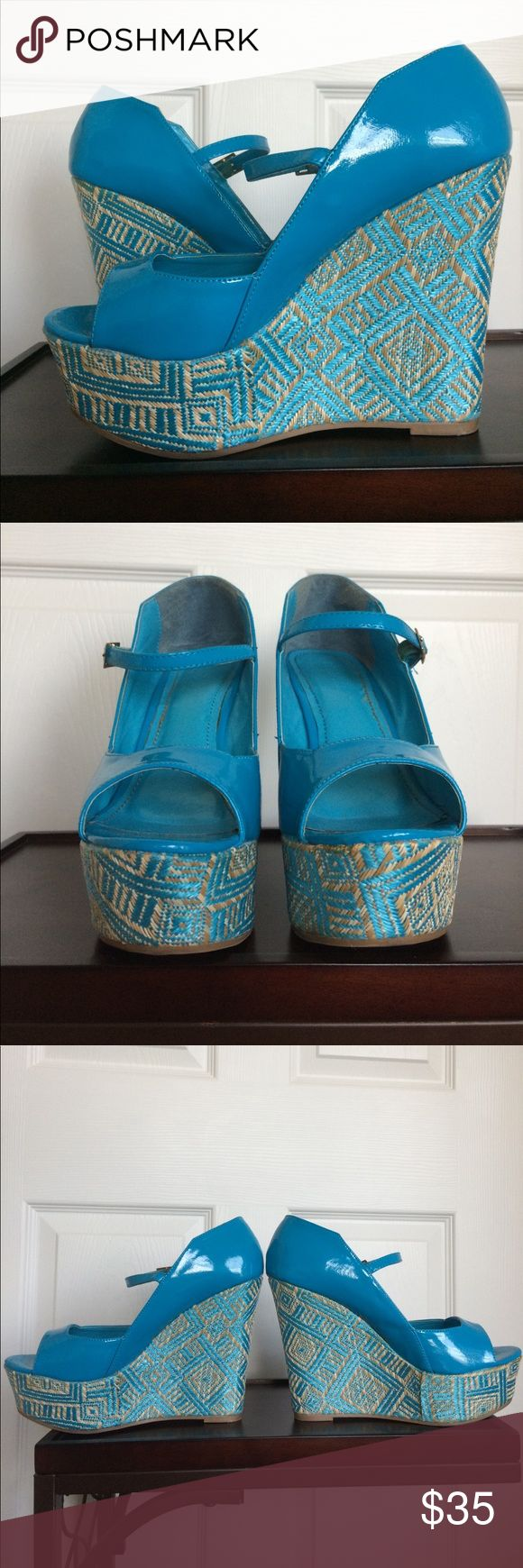 VGUC Liliana Paxton Turquoise Wedges Size 10 VGUC Liliana Paxton Turquoise Wedges Size 10. Worn 5-10 times. Feature silver hardware. Fit TTS. They're even prettier in person and a guaranteed conversation-starter!  Liliana Shoes Wedges