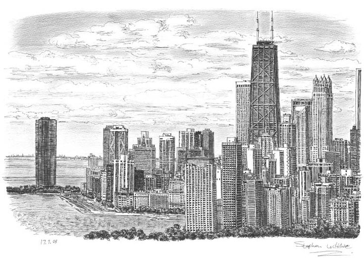 Chicago Skyline - drawings and paintings by Stephen Wiltshire MBE