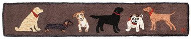 Dogs Welcome on Brown 1'X6' Hooked Wool Hearth Rug