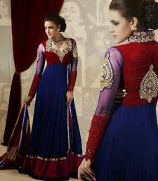 Buy Blue - Red embroidered georgette semi-stitched salwar with dupatta party-wear-salwar-kameez online