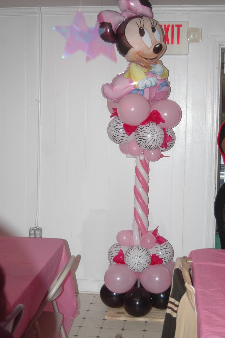 Minnie mouse balloon column baby shower ideas for Balloon decoration minnie mouse