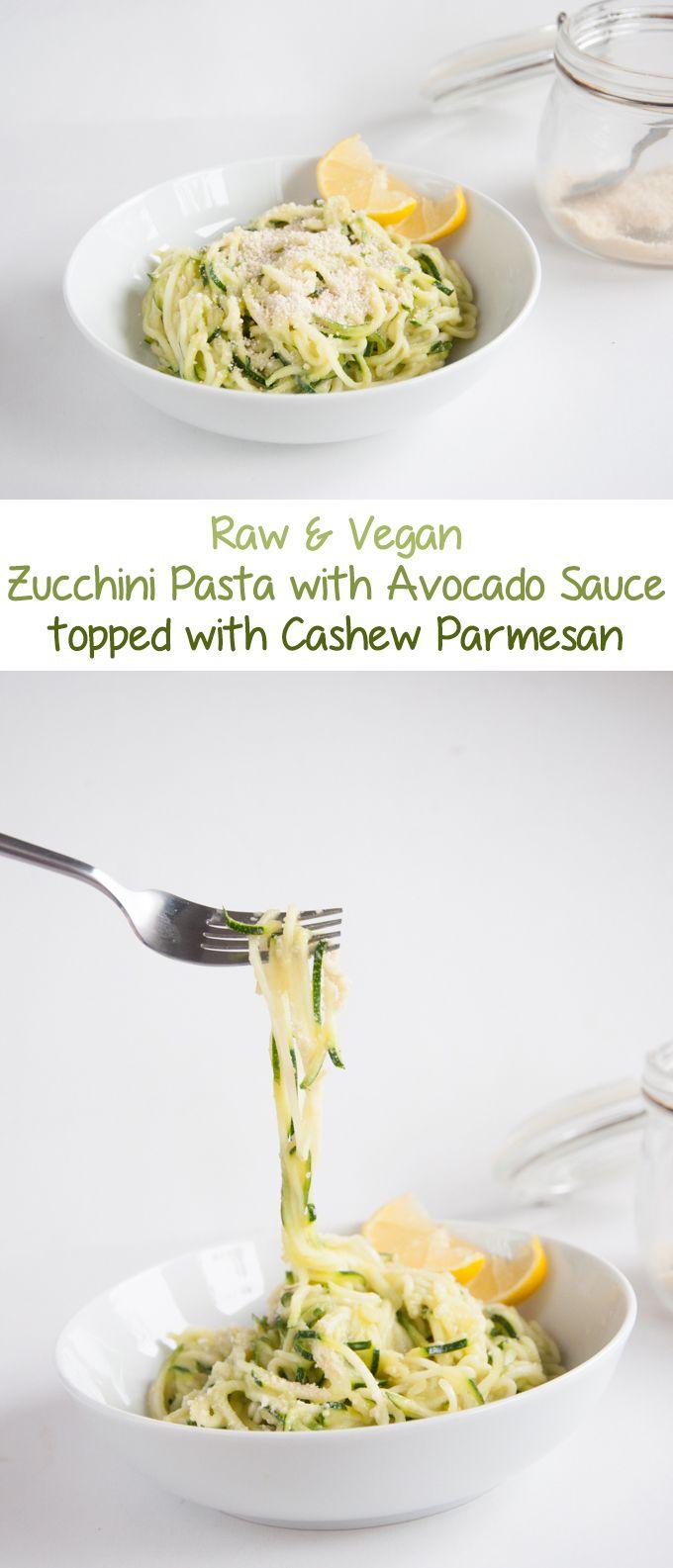 Zucchini Pasta with Avocado Sauce   ElephantasticVegan.com
