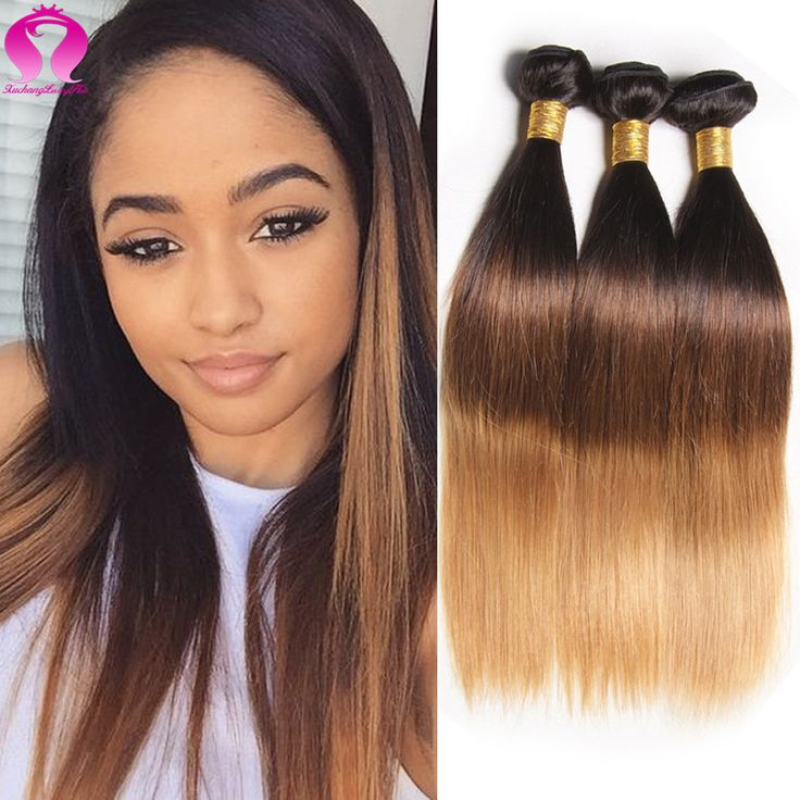 8A Ombre Peruvian Virgin Hair Straight Weave 3 Bundle Deals Remy Hair Blonde Bundles Wet And Wavy Human Hair Straight Weave