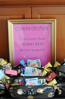 Oh Shit Kits. Bachelorette party favors for hangovers, lol.