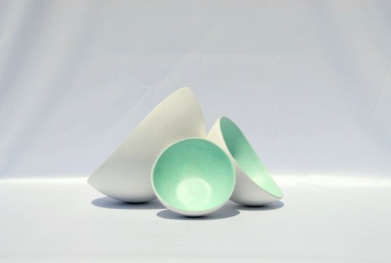 Bowl paper mache white opulence and soft mint