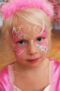 Rosa fjäril face painting butterfly pink flowers