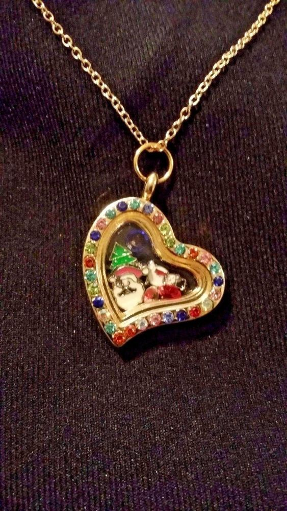 Christmas Themed Living Memory Locket Floating Charm Necklace - Includes Charms! #Unbranded #Chain