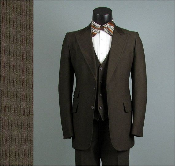 Vintage Mens Suit 1970s Chocolate Brown American Mod Hipster Disco 3 Three Piece 40 42
