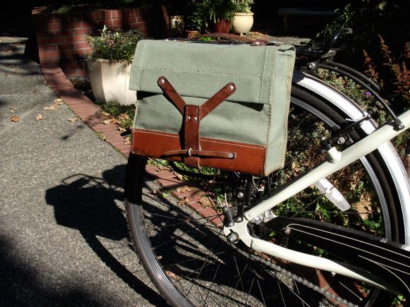 DIY favorite bag into bike pannier