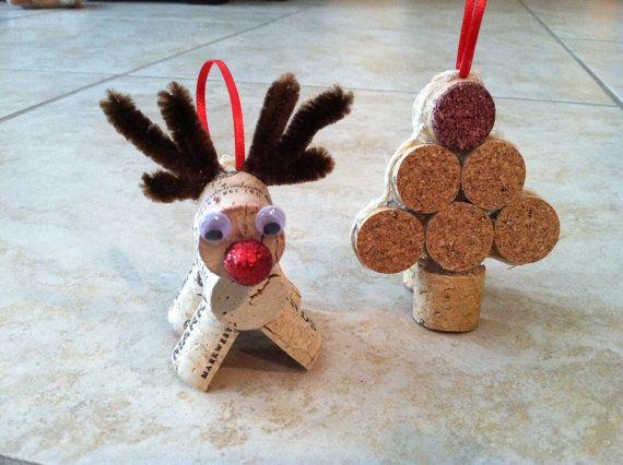 Wine cork Christmas ornaments- reindeer or Christmas trees- set of 4 on Etsy, $12.50
