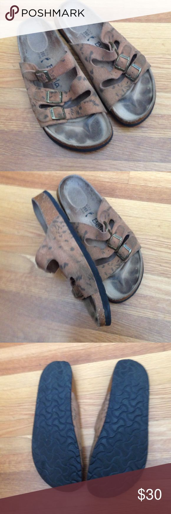 Suede printed Betula sandals By Birkenstock 41 or women's 10 good used condition Birkenstock Shoes Sandals