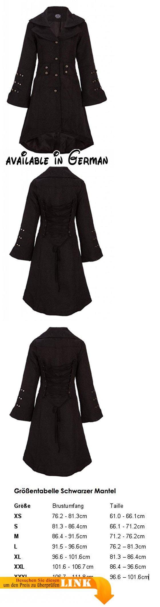 eleganter schwarzer viktorianischer winter mantel jacke mit schnrung und verzierungen gr l schwarzer - Mantel Der Ideen Mit Uhr Verziert