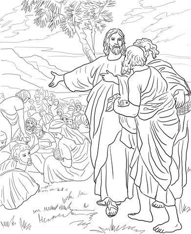 Jesus Multiplies The Bread And Fish Coloring Page