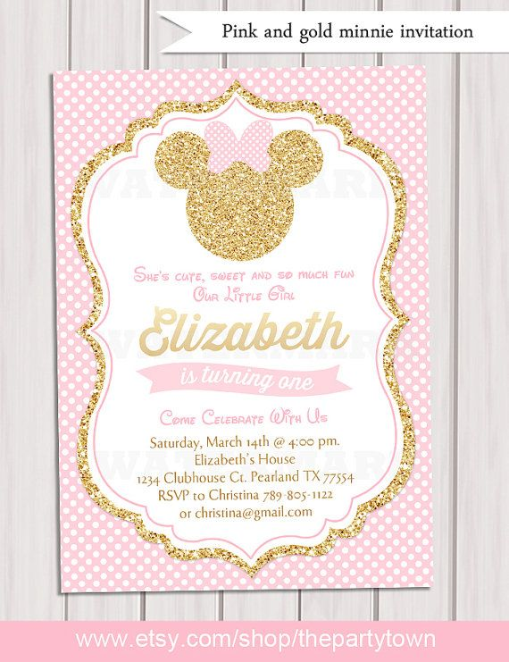 Pink and Gold Minnie Mouse Birthday Party Invitation, First 1st Birthday, Gold Glitter, Polka Dot, Girl, Printable Invitation This listing is for a digital file for DIY printing. No physical product will be sent. This listing is for a 5x7 digital printable invitation for you to print