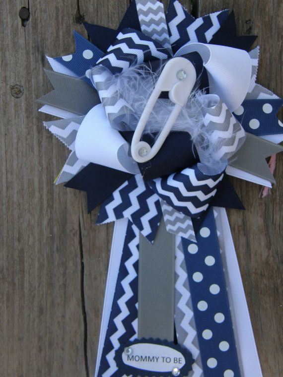 Baby Shower Corsagemumbaby Shower Mumchevron Baby Shower