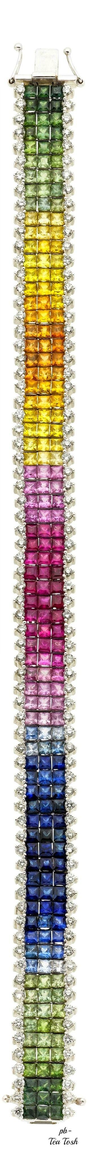❇Téa Tosh❇ ... Rainbow sapphire gemstone and diamond bracelet ❤️