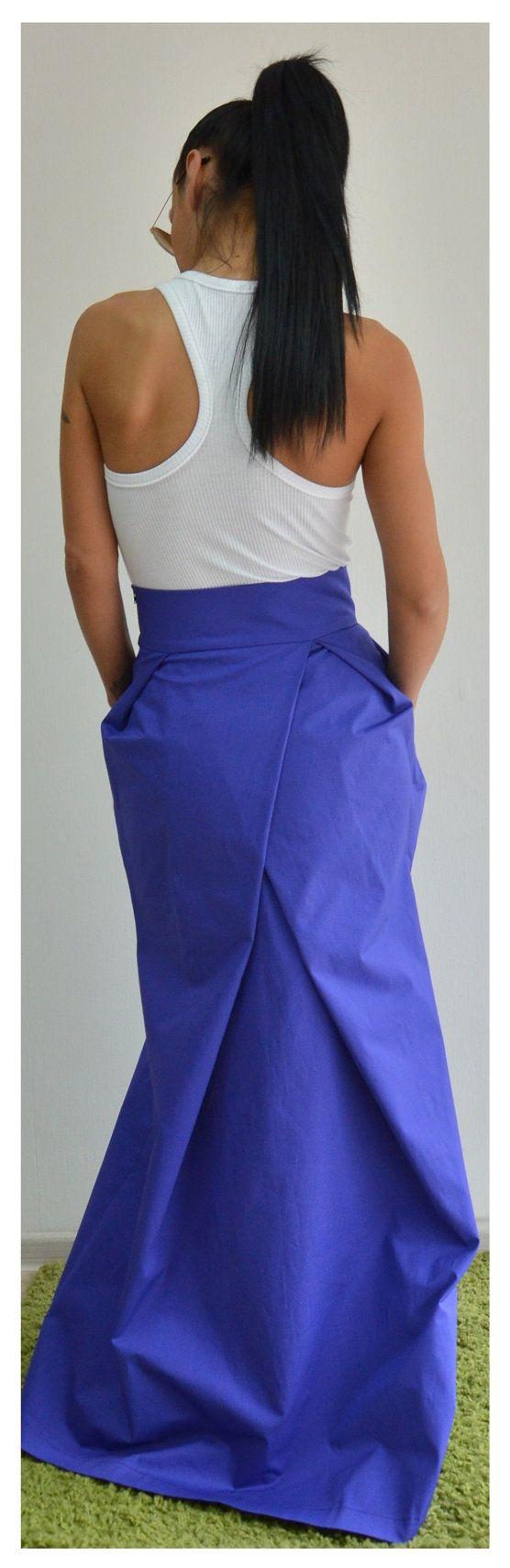 Long skirt / Woman high waist blue skirt / от ClothesByLockerRoom