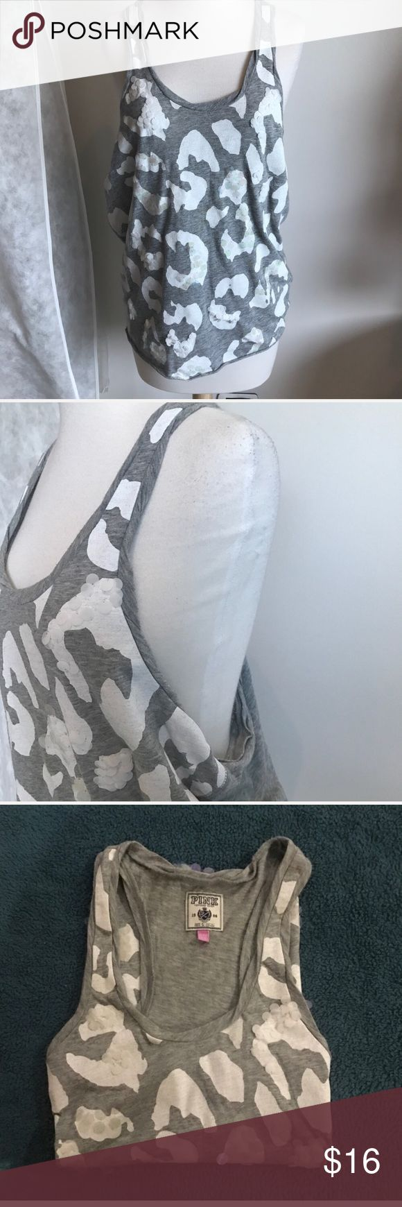 White and Gray Leopard Top Light gray oversized wife beater with eye catching oversized leopard spots and big round sequins 😍 this top is pretty big so it will fit a size small👌🏽 so comfortable and definitely pops❤️ PINK Victoria's Secret Tops