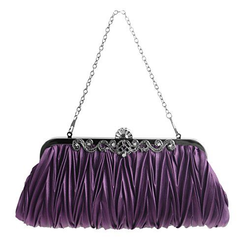 New Trending Clutch Bags: Pulama® - Evening Handbag Classic Satin Detachable Strap Purple Clutch. Pulama® – Evening Handbag Classic Satin Detachable Strap Purple Clutch   Special Offer: $13.96      100 Reviews You may concern: ✪ What's the material? ★ Silk satin, solid hardware. ✪ How to open it? ★ Grab the entire clasp and tilt backwards.✪ What will fit in it? ★ Large...
