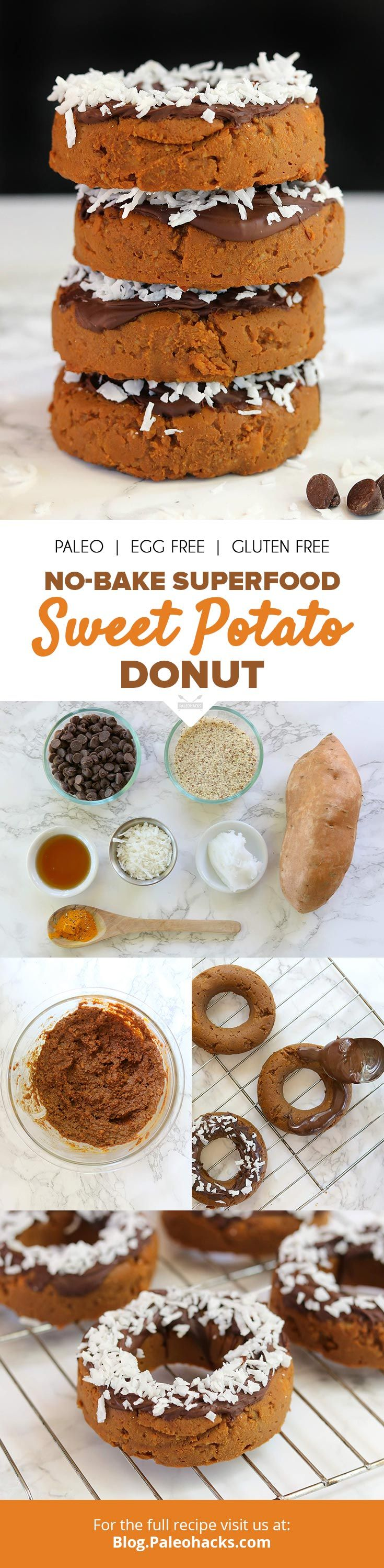 All the decadence of a donut without the processed ingredients and zero baking! These sweet potato, turmeric-packed donuts get dipped in antioxidant dark chocolate for a superfood treat. Get the recipe here: http://paleo.co/SWPdonut