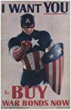 Get This Special Offer #10: Captain America War Bonds Poster I WANT YOU to Buy War Bonds Now 11 x 17 Litho