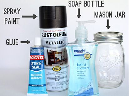 Mason jars can be repurposed as cute-patootie soap dispensers. | 21 Adorable DIY Projects To Spruce Up Your Kitchen