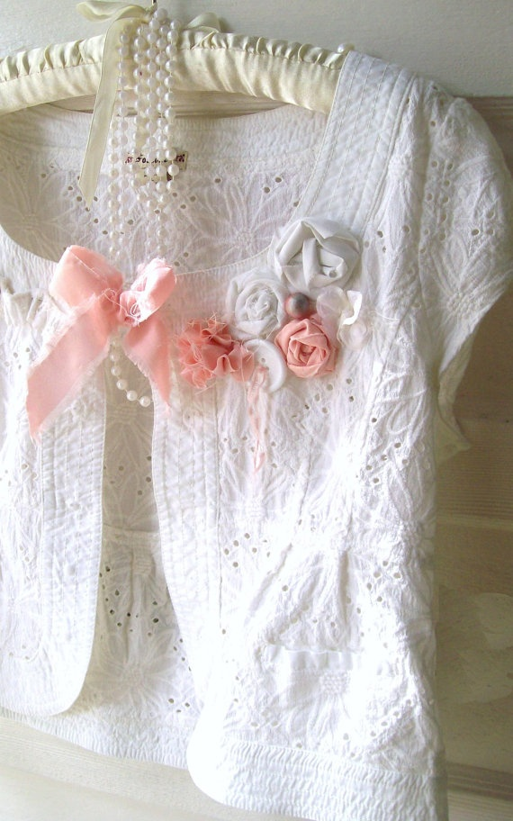 Romantic White COtton Eyelet Shrug Cottage Chic by GLAMOURGIRLCHIC, $54.00