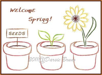 Floral Flower Pots Embroidery Pattern for Greeting Cards