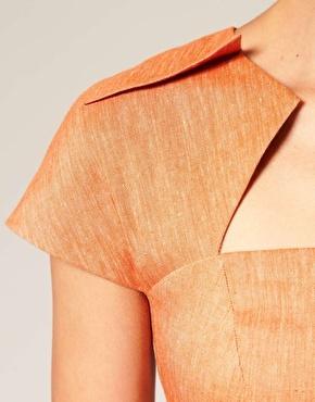 ASOS linen pencil dress neckline