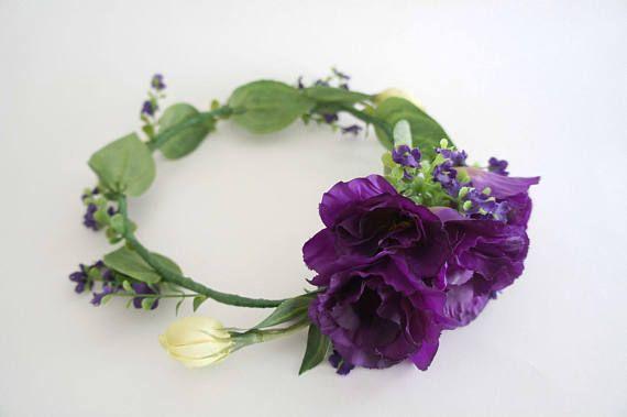 Purple lisianthus flower crown for wedding bridal bridemaid