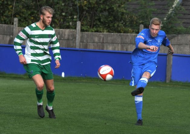 On target: Robbie Bromley put Padiham ahead at Radcliffe Borough on Tuesday night