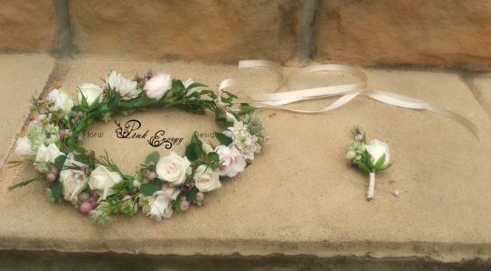 Fresh flower crown and buttonhole.