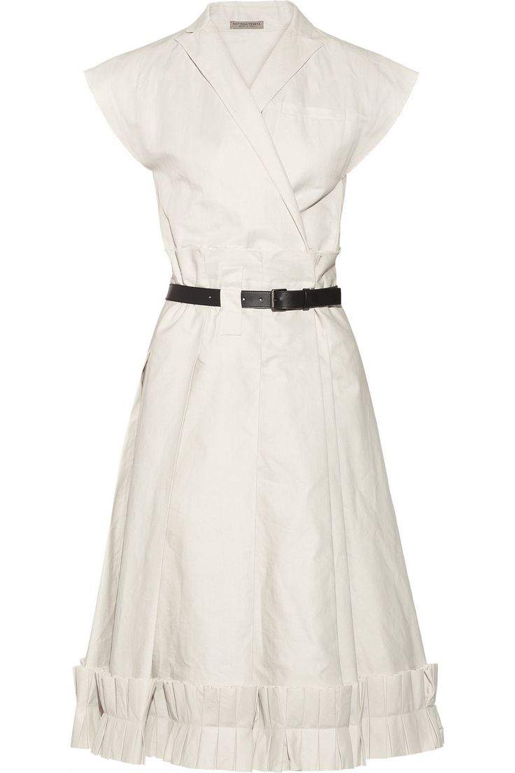 Bottega Veneta Pleated cotton-blend twill wrap dress NET-A-PORTER.COM