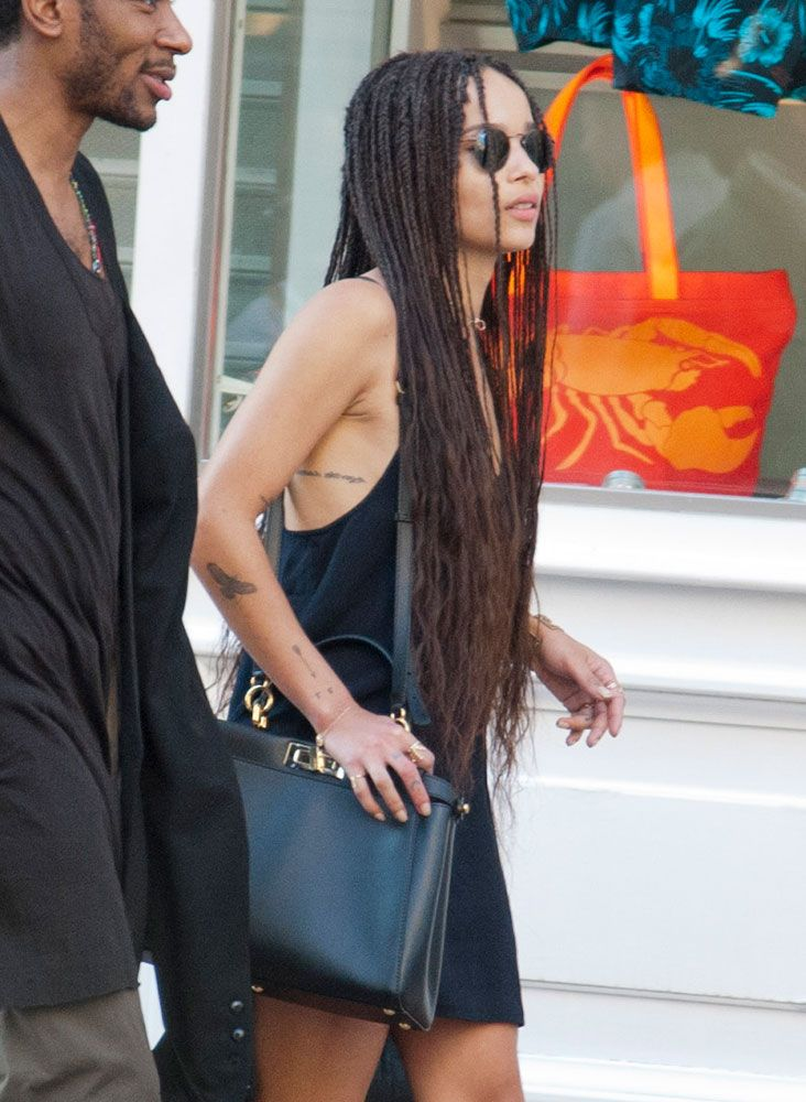 45 Celebs Prove The Fendi Peekaboo Is The Low Key Luxury Bag That Fits Any Personal Style Purseblog Zoe Kravitz Braids Twist Braid Styles Zoe Kravitz Style