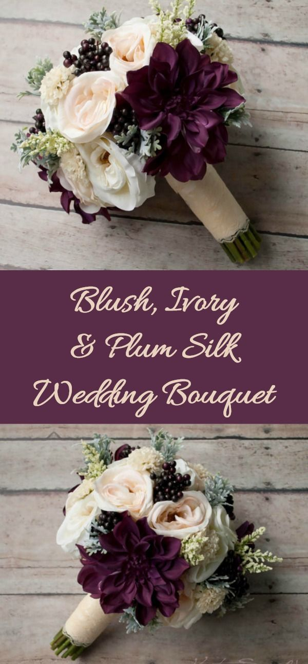 This rustic bouquet is arranged with blush and ivory garden roses and dahlias w