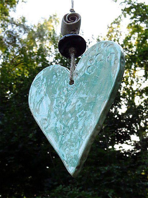 Garten Windspiel Herz aus Keramik von gedemuck auf Etsy, €10.00