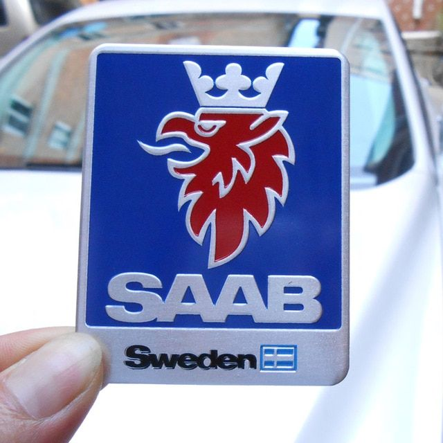 1pc 7x5 5cm 3d Aluminum Alloy Auto Car Chrome Badge Sticker For Saab 9 3 9 5 93 900 9000 Emblem Sweden Decal Car Logo Sticker Revie Logo Sticker Saab Car Logos