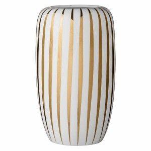 Biały wazon w złote pasy Allie Lene Bjerre
